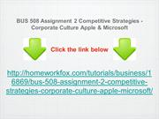 BUS 508 Assignment 2 Competitive Strategies - Corporate Culture Apple