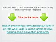 CRJ 305 Week 3 DQ 3 Journal Article Review Policing Crime Prevention P