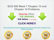 ECO 550 Week 7 Chapter 13 and Chapter 14 Problems
