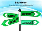 Failure Success And Achievement Business Signpost PowerPoint Templates