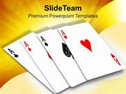 Four Aces Playing Cards Game PowerPoint Templates PPT Themes And Graph