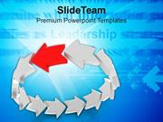 Team Effort With Leader As Curved Arrows PowerPoint Templates PPT Them