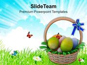 Easter Eggs Basket To Gift PowerPoint Templates PPT Themes And Graphic