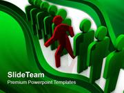 Red Man Standing Out Of Queue PowerPoint Templates PPT Themes And Grap