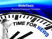 White Clock With Words Time For News PowerPoint Templates PPT Themes A