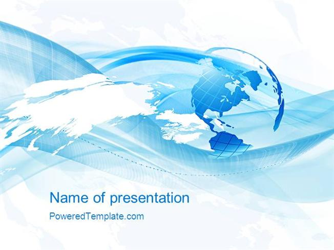 Blue waves globe powerpoint template authorstream toneelgroepblik