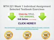 MTH 221 Week 1 Individual Assignment Selected Textbook Exercises