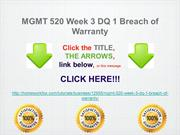 MGMT 520 Week 3 DQ 1 Breach of Warranty