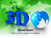 3d Globe On Green Background PowerPoint Templates PPT Themes And Graph