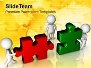 3d Men Assembling Puzzles Teamwork PowerPoint Templates PPT Themes And