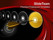 Golden Arrow Hitting Golden Dart PowerPoint Templates PPT Themes And G