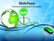 Green Mouse With Green Globe PowerPoint Templates PPT Themes And Graph