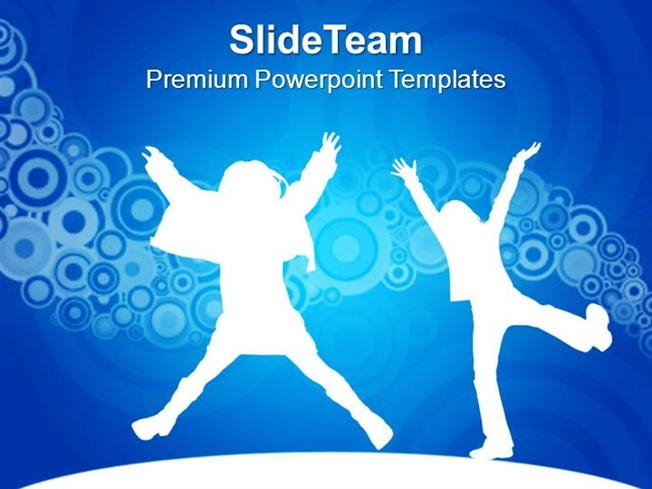 Kids Jumping Dancing Joy Happiness Powerpoint Templates Ppt Themes