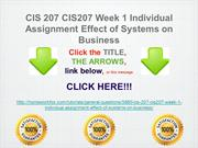CIS 207 CIS207 Week 1 Individual Assignment Effect of Systems on Busin