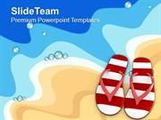 Pair Of Flip Flop On Beach PowerPoint Templates PPT Themes And Graphic