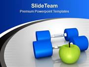 Fitness Objects Exercise Fruits Health Theme PowerPoint Templates PPT