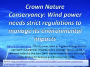 Crown Nature Conservancy: Wind power needs strict regulations