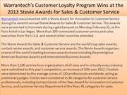 Warrantech's Customer Loyalty Program Wins at the 2013 Stevie Awards f