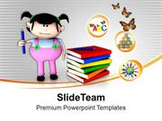 3d Girl Graphic With Books Education Theme PowerPoint Templates PPT Th
