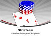 Casino Chips And Playing Cards Entertainment PowerPoint Templates PPT