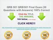 QRB 501 QRB501 Final Exam (30 Questions with Answers) 100% Correct