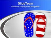 US Flag Flip Flop For Vacation Theme PowerPoint Templates PPT Themes A