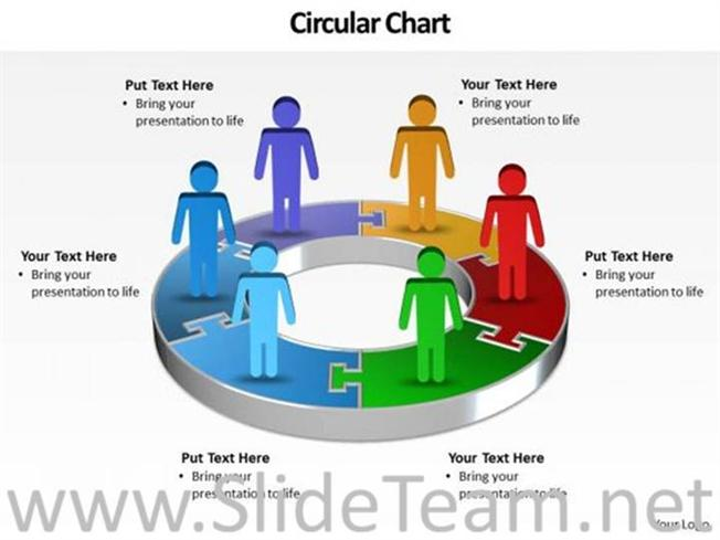 6 Piece Pie Chart Diagram Powerpoint Diagram