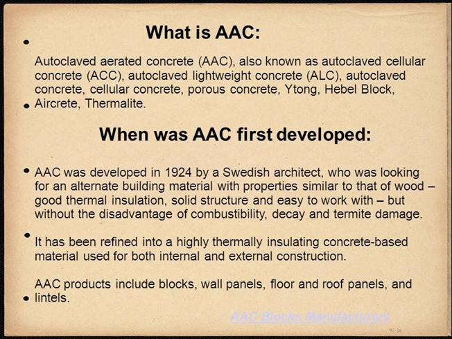 AAC (Autoclaved Aerated Concrete) Blocks |authorSTREAM