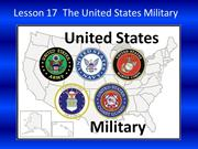 Lesson 17 United States Military