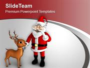 Santa Claus Wishing Christmas Festival PowerPoint Templates PPT Themes