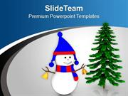 Snowman With Bells Wishing Merry Christmas PowerPoint Templates PPT Th