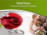 Wedding Rings Of Couple With Red Roses PowerPoint Templates PPT Themes