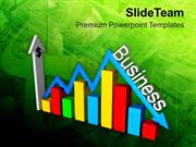 Bar Graph With Arrow Business Ups And Downs PowerPoint Templates PPT T