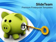 Piggy Bank With Golden Key Security PowerPoint Templates PPT Themes An