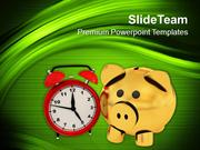 Timely Saving Theme With Piggy Bank PowerPoint Templates PPT Themes An