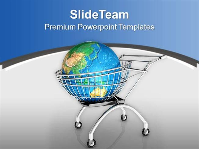Global Shopping Concept With Shopping Cart Powerpoint Templates Pp