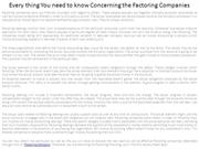 Every thing You need to know Concerning the Factoring Companies