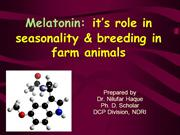Melatonin's role in seasonality and breeding in farm animals by Dr. Ni