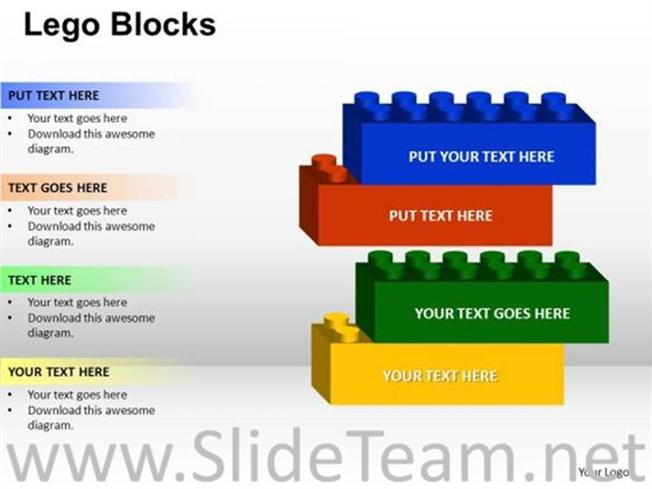 4 staged lego block diagram powerpoint diagram 4 staged lego block diagram related powerpoint templates ccuart Image collections