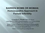 Barren Womb or Woman: Homeopathic Approach in Female Infertility