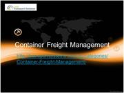 Container Freight Management Users Guide