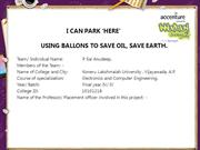 USING BALLONS TO SAVE OIL, SAVE EARTH