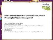 Nanoparticle based powder Dressing For Wound Management