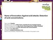 Against acid attacks Detection of acid concentrations