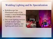 Wedding Lighting and Its Specialization