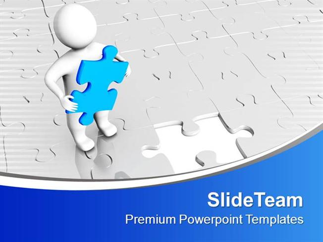 3d Man With Blue Puzzle Of Business Powerpoint Templates Ppt Theme