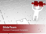 3d Man With Red Puzzle Piece PowerPoint Templates PPT Themes And Graph