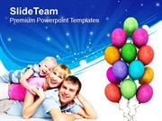 Family Enjoying The Celebration PowerPoint Templates PPT Themes And Gr
