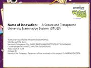 A Secure and Transparent University Examination System  (STUES)