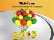 Celebrate New Year With Colorful Balloons PowerPoint Templates PPT The